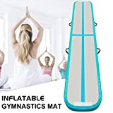 Gutlucky Inflatable Tumbling Gymnastic Air floor Mat Track Cheerleading for Home Use/Cheerleading/Beach/Park and Water 9.84'1.64′