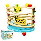 Wooden Ball Tower Wooden Race Track Toddler Toys Ball Ramp Toy for Baby Gifts with Fawn & 3 Small Racers