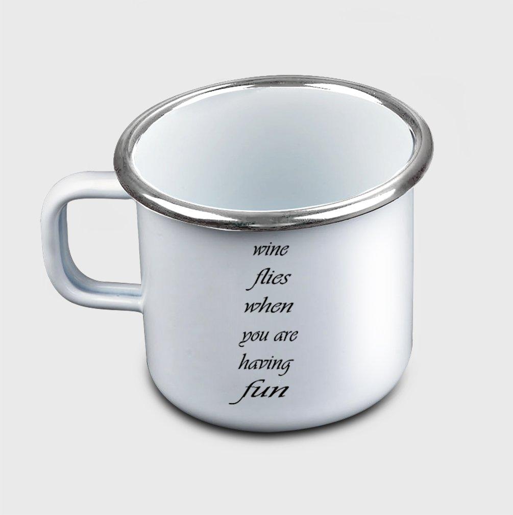 Style In Print ''Wine Flies When You Are Having Fun Cursi…'' Funny Food/Drink Metal Enamel Camping Mug