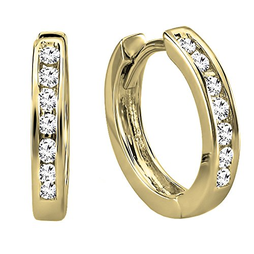 Dazzlingrock Collection 14K Small Round White Diamond Huggie Hoop Earrings, Yellow Gold ()