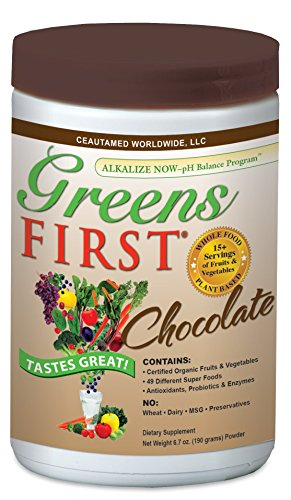 Greens First - Chocolate - Superfoods, Extracts & Concentrates, Nutrient Rich Antioxidant Power Of 15+ Servings Of Fruits - 14.37 Ounce 30 Servings