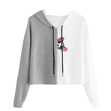 ❀Tiendas De Ropa Online Comprar Ropa para Dama Compra De Ropa Cat Hooded Colorblock Manga Larga Top XL: Amazon.es: Ropa y accesorios