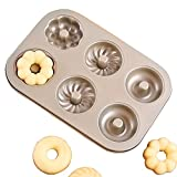 MZCH 6-Cavity Non-stick Donut Pan, Heavy-duty Carbon Steel Mini Donut Makers, FDA Approved, 11 by 7 inches, 3 Pattern, Champagne Gold