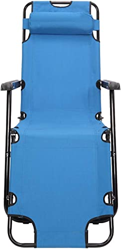 Portable Adjustable Folding Outdoor Lawn Lounge Reclining Chair Recliners with Pillows for Patio,Poolside, Beach, Yard,Foldable Deck Chair Siesta Single Bed 68.11 x 23.62 x 9.06