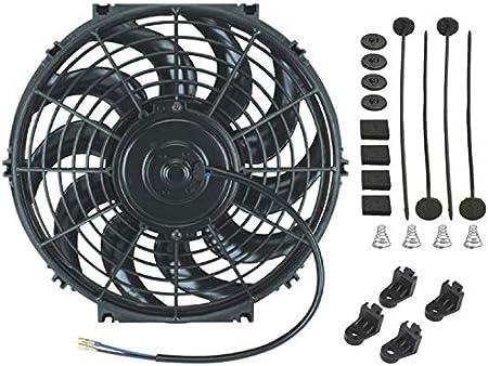 American Volt Reversible Electric Engine Fan 12V Radiator Condenser Cooling High Performance Motor Air Flow Power CFM 15 Inch