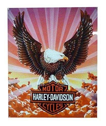 (Harley-Davidson Tin Sign, Bar & Shield Eagle with Clouds, 14 x 17 inch 2010041)