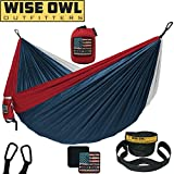 Wise Owl Outfitters Camping Hammock with Tree Straps Premium Double 2 Person, Single 1 Person Portable Lightweight Heavy Duty Parachute Hammocks, Best Camp Gear Indoor Outdoor Beach DOLib