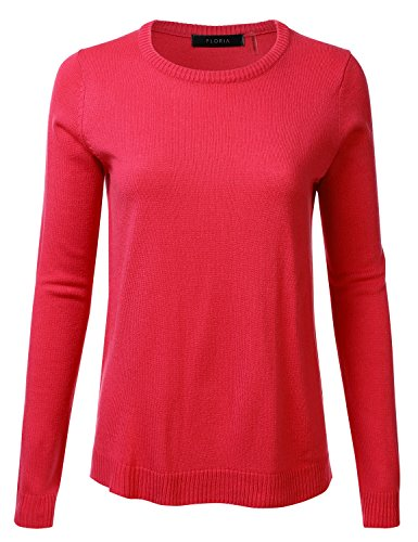FLORIA Womens Crewneck Long Sleeve Soft Pullover Knit Sweater Top w/Ribbed Trim