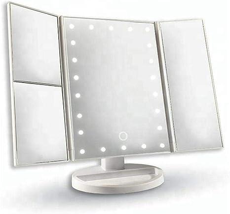 WSJ Espejo de Maquillaje LED-Pantalla táctil de Espejo de vanidad de Escritorio con 22 Espejo de vanidad Plegable Ligero, A: Amazon.es: Hogar