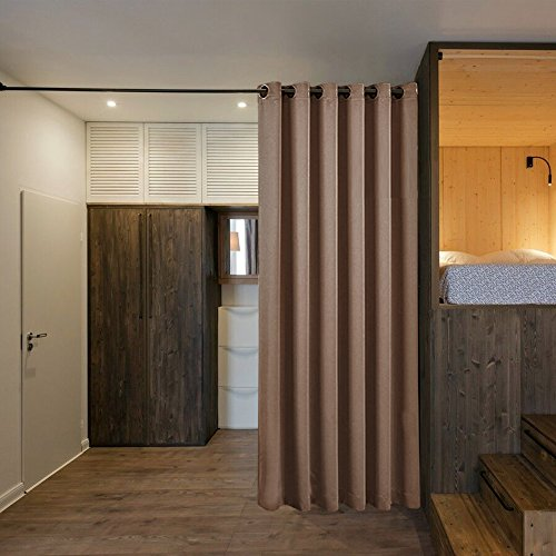 room divider curtain screen partitions nicetown home decor blackout curtain for shared space. Black Bedroom Furniture Sets. Home Design Ideas