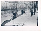 Vintage Photos 1969 Photo Snow Covered Ground Stream Water Workers Shovel Historic People
