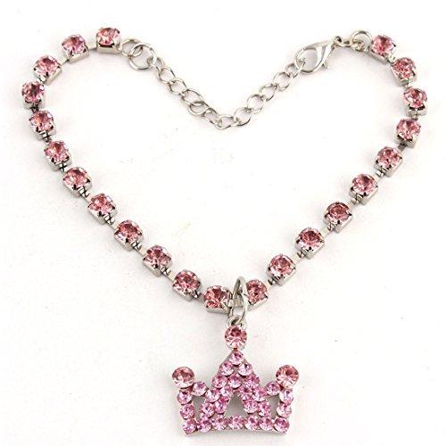 eDealMax Perles Linked Strass incrusts Couronne pendentif en Forme de dcor Pour Chien Collier M Rose