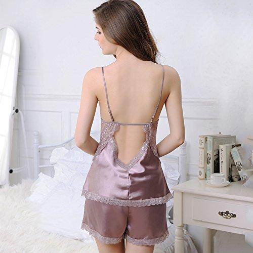 MH-RITA La nueva División camisón de verano femenina de encaje de dos piezas calados Sling Shorts pijamas temperamento Home Furnishing palo rosa Champagne