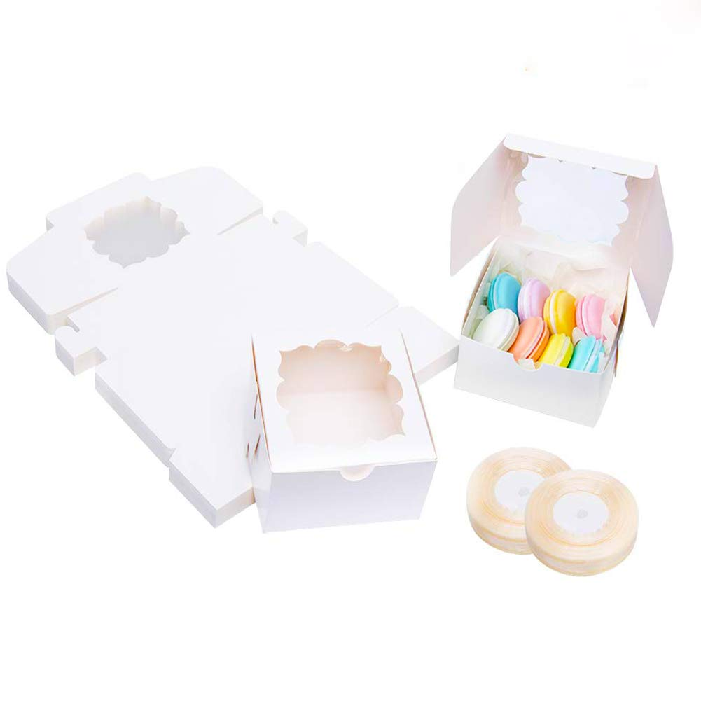 60 PCS White Bakery Boxes with Window Pastry Box Mini Cupcake Box 4x4x2.5 inches by YunKo (White)