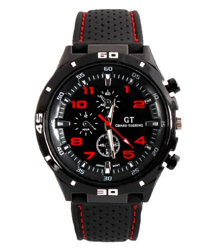 GT Racing Sport Watches Military Pilot Aviator Army Style Black Silicone Red Number Men's - Number Aviator