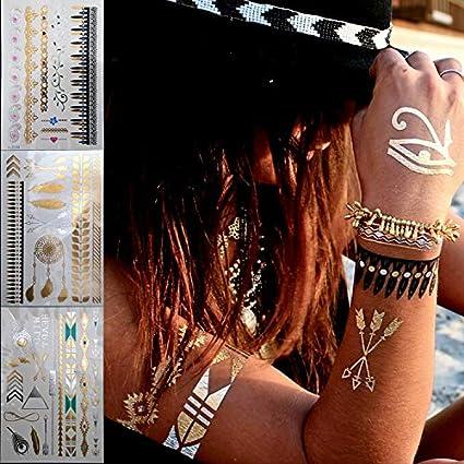 Yangll Corrió Nuevo Oro Plata Collar De Moda Pulsera Tatuaje ...