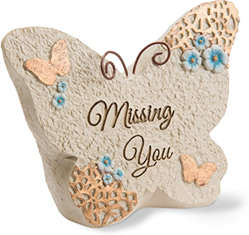 Pavilion Gift Company Light Your Way Memorial - Missing You Memorial Butterfly Rock, Solid (Candles Picture Memorial)