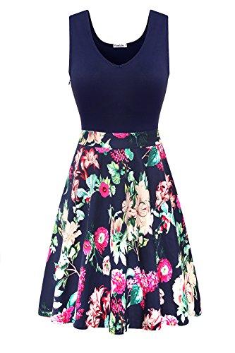 Yomilin Women's Casual Sleeveless V Neck Flare Floral Mini Party Dress Flower-03 L - Flower Mini Dress