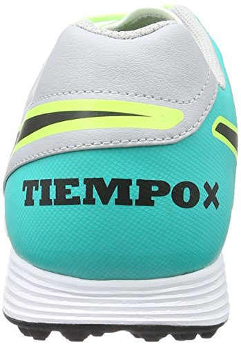 Nike Herren Tiempox Genio II Leather TF Fußballschuhe, Mehrfarbig (Wolf Grey/Black-Clr Jade-Metallic Silver), 45.5 EU