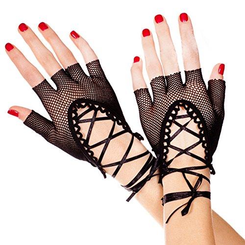 (Eliffete Women Sexy Fishnet Black Gloves Bridal Accessories Wrist Length)