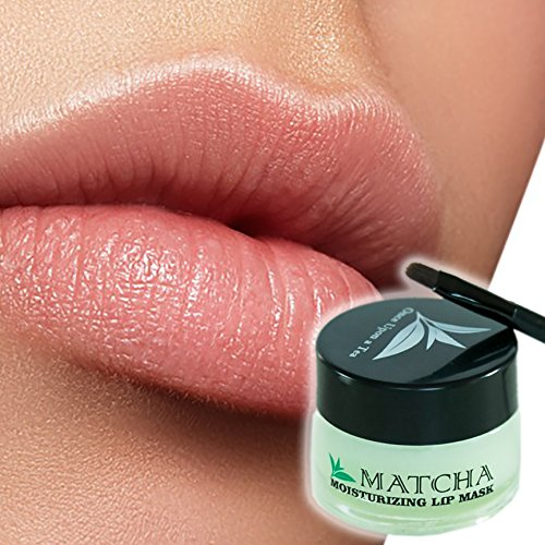 Moisturizing Green Tea Matcha Sleeping Lip Mask Balm, Younger Looking Lips Overnight, Best Solution For Chapped And Cracked Lips, Unique Formula And Power Benefits Of Green ()