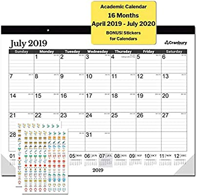 Large Desk Calendar 17 75 X 13 75 2019 2020 Academic Year Black Use Now 16 Months April 2019 To July 2020 Deskpad Desktop Wall Calendar With