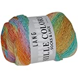Lang Mille Colori Socks & Lace Yarn: Peach, Yellow, Green, Turquoise, 0054, 7542
