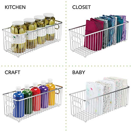 Bronze Closets Bedrooms Bathrooms Pantry 2 Pack Large Farmhouse Metal Wire Basket Freezer Organizer Bins with Handles for Kitchen Cabinets iPEGTOP Wire Storage Baskets