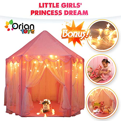 Orian Princess Castle Playhouse Tent for Girls with LED Star Lights – Indoor & Outdoor Large Kids Play Tent for…