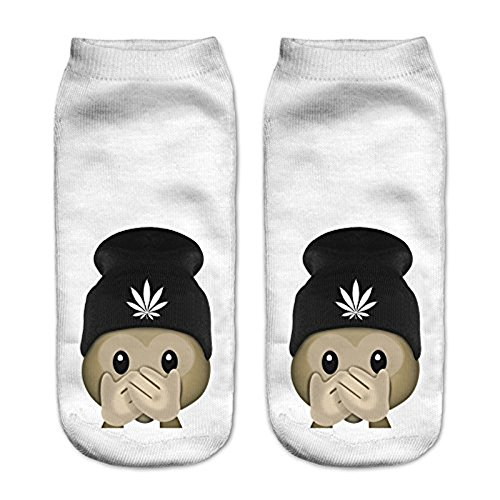 Amazon.com: Funny Emoji Monkey 3D Printed Sock Women Low Cut Ankle Socks Calcetines Hosiery Meias White Casual Sock: Clothing