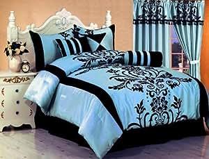 7 piece bedding flock comforter set light blue black bed in a bag full size. Black Bedroom Furniture Sets. Home Design Ideas