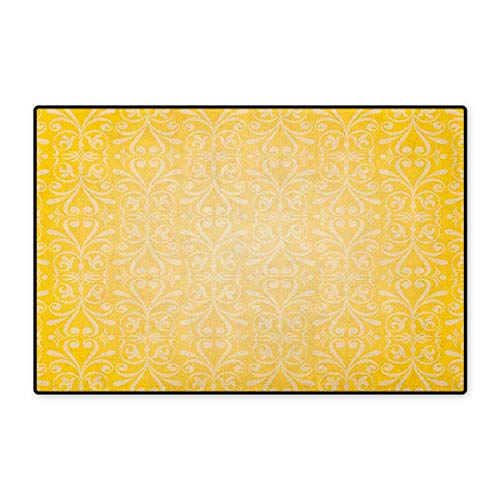 Vintage Yellow,Door Mat Non Slip,Victorian Style Swirls Timeless Royal Motifs Monochrome Curves,Floor Mat for Tub,Yellow and Pale Yellow,Size,32