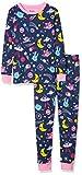 Hatley Girls' Big Organic Cotton Long Sleeve Printed Pajama Sets, Glow in The Dark Animal Cosmos, 10 Years