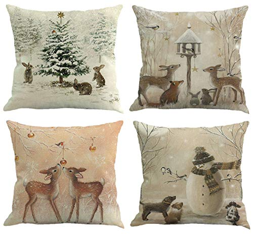- Youngnet Set of 4 Christmas Deer Animal Print Throw Pillow Cover Winter Home Decor Cushion Cover 18 x 18