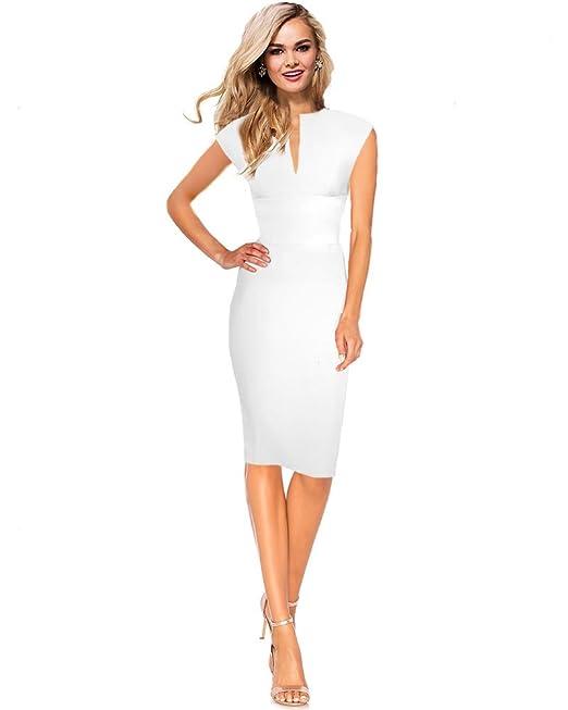 DREZZ2IMPREZZ Vestido fiesta boda blanco mangas corto hasta la rodilla elastico - KEIRA - tallas 34
