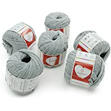 Charmkey Pappardelle T Shirt Yarn Soft 100% Polyester Fabric 7 Jumbo Fashion Knitting Cloth Tape for Crocheting Bags Bowls DIY Handicraft, Pack of 6 Skeins, 1.41 Ounce×6 (Pussywillow Gray)