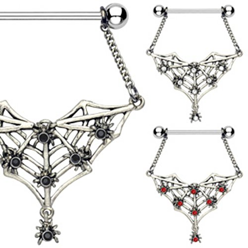 Gemmed Spiders and Bat Web Dangle 316L Surgical Steel WildKlass Nipple Shield (Sold as ()