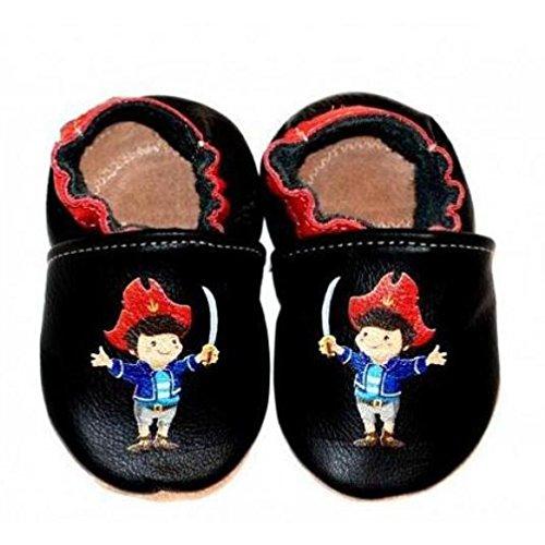Kinder Hausschuhe Leder Kindergartenschuhe Motiv Pirat handmade (2XL=26/27)