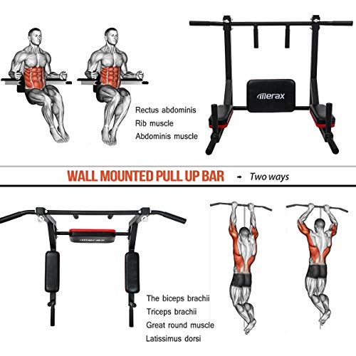 Merax Wall Mounted Pull-Up Bar - Multi-Grip Chin-Up Bar Dip Stand Power Tower Set for Home Gym Strength Training Equipment [Supports 440LBS] (Black & Red) by Merax (Image #2)