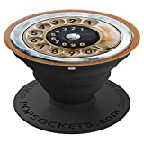 old phone dial - Adhesive Phone Case Stand Grip -Vintage Old Phone Dial Brown - PopSockets Grip and Stand for Phones and Tablets
