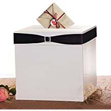 """Merry Expressions - White Gift Card Box with 7 Ribbon Colors and Rhinestone Buckle, 10""""x10"""" Large, Textured Finish - Elegant Money Box Best for Weddings, Birthdays, Graduations, & Baby Showers"""