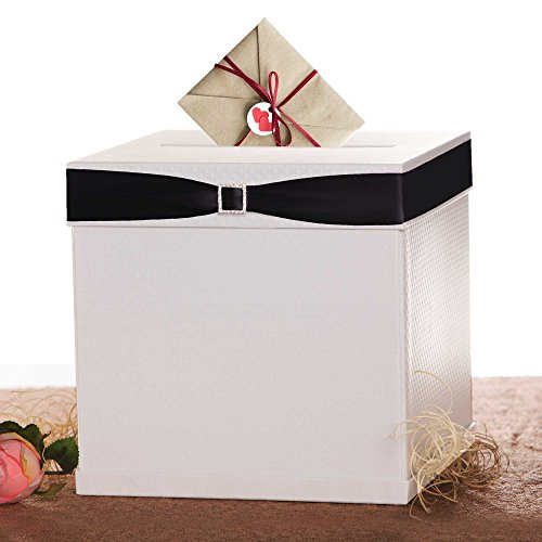 Bridesmaid Keepsake Box - Merry Expressions White Gift Card Box with 7 Ribbon Colors and Rhinestone Buckle, 10