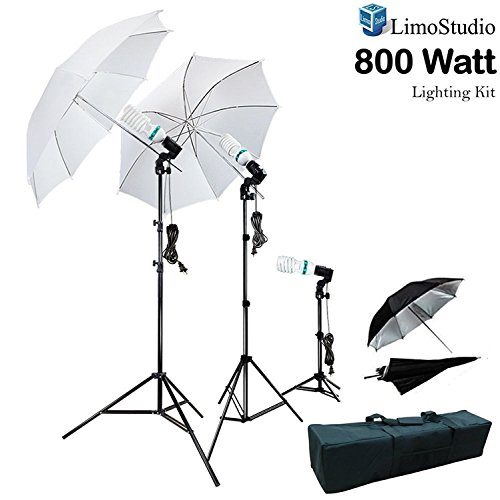 LimoStudio 800W Photography Photo Portrait Studio Umbrella Triple Continuous Lighting Kit - 2 x White Umbrella Lighitng, 1 x Table Top Mini Lighting Kit, AGG1210