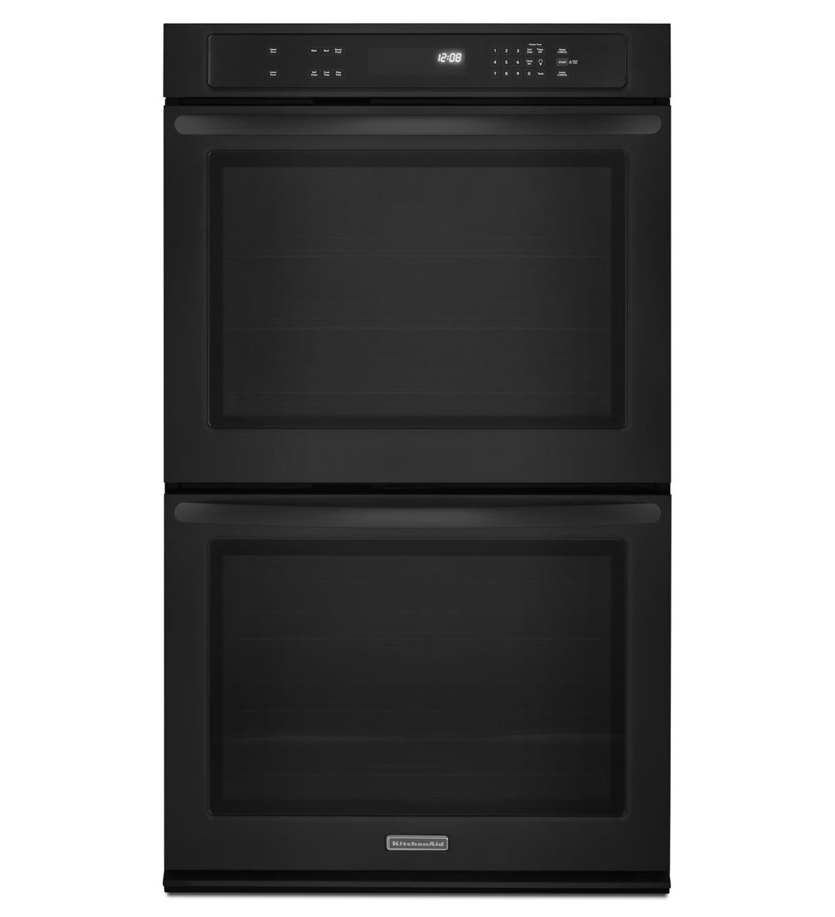 """KitchenAid KEBK206BBL 30"""" Double Thermal Wall Oven with 5.0 cu. ft. Capacity, 2 Oven Racks, EvenHeat Technology, Halogen Lighting, Self-Cleaning and Glass Touch Display"""