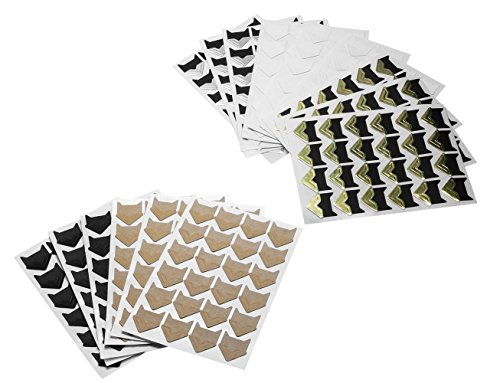 Shapenty 5 Colors (Black, White, Silver, Gold, Bronze) Kraft Paper Photo Mounting Corner Self-Adhesive Stickers Scrapbooks Memory Books Cardstocks for DIY Picture Album Dairy,15 Sheets/360 Counts by Shapenty