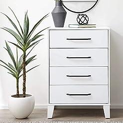 Bedroom Everlane Home DaleyFour Drawer Modern Design-Easy Assembly Dresser, White modern dressers