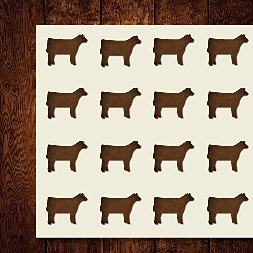 Angus Show Cow Craft Stickers, 44 Stickers at 1.5 Inches, Great Shapes for Scrapbook, Party, Seals, DIY Projects, Item 1321724