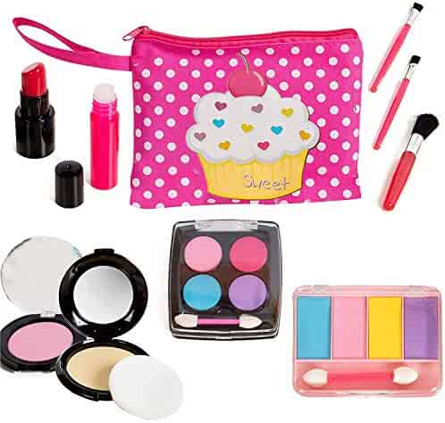 Beverly Hills Kids Pretend Play Makeup Cosmetic Kit with Bright Polka Dotted Cosmetic Bag