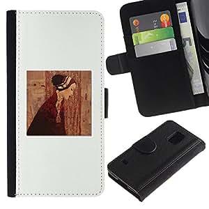 All Phone Most Case / Oferta Especial Cáscara Funda de cuero Monedero Cubierta de proteccion Caso / Wallet Case for Samsung Galaxy S5 V SM-G900 // Clean Painting Dress Deep White