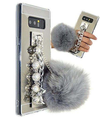 Galaxy Note8 Case,Pearl Chain Holder Fur Ball Case,Goodaa Luxury Hairy Fur Plush Ball Pearl Metal Chain Holder Bracelet Cover Mirror Case For Galaxy Note 8(Grey Silver)